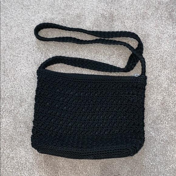Lina Handbags - Black crotchet crossbody purse